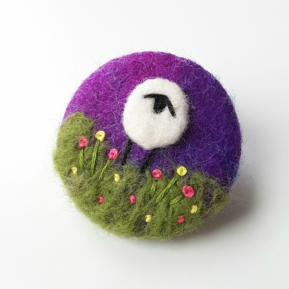 Purple felted sheep brooch