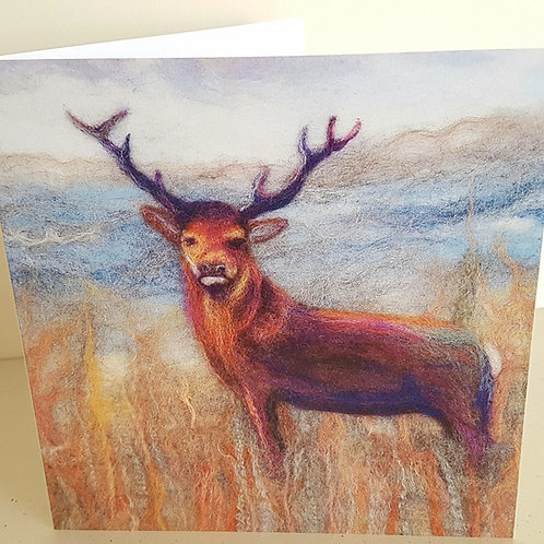 Felted Stag greetings card - printed from original felted artwork