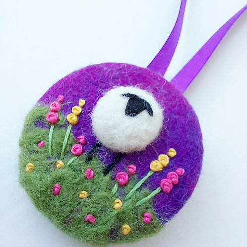 Felted & Embroidered Sheep Decoration