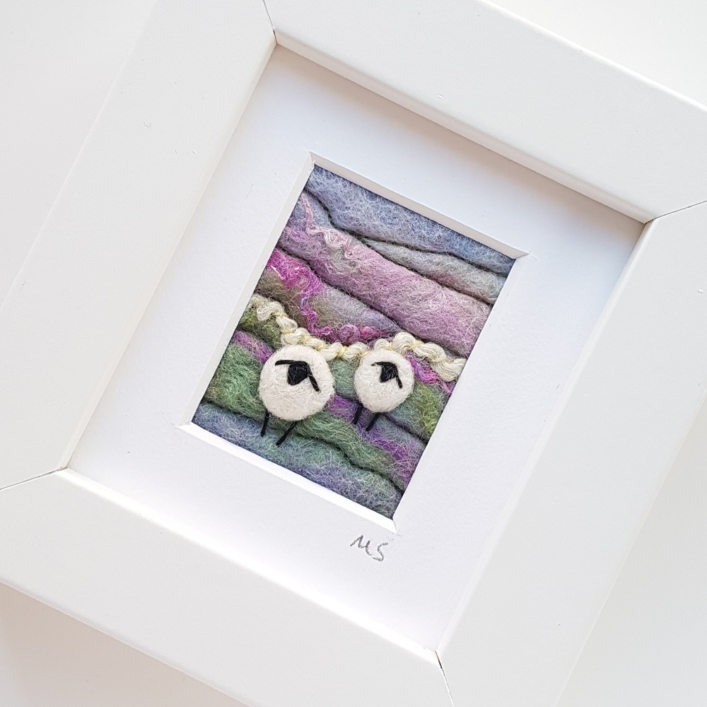 purple felted sheep landscape 2