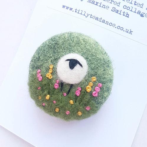 Felted wool sheep brooch