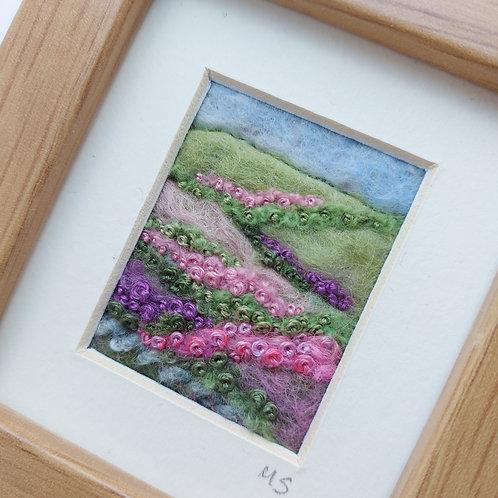 Heather Hills - felted wool and embroidered landscape picture
