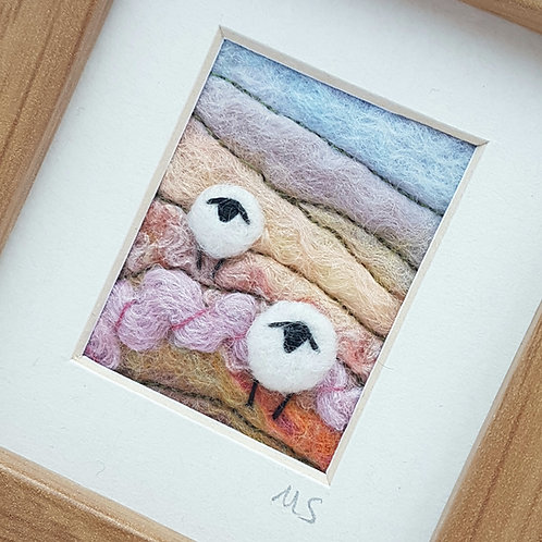 Felted wool sheep landscape