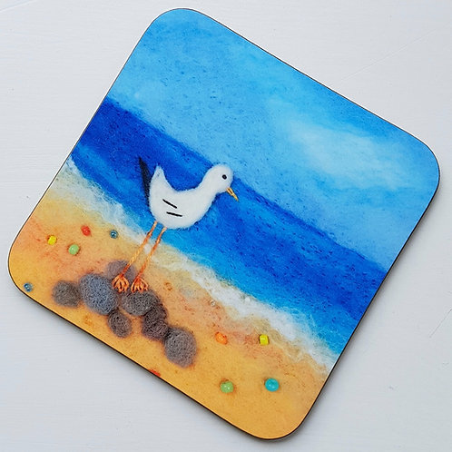 Garth the Felted Gull coaster - printed from original felted artwork