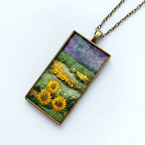 Felted Wool Embroidered Sunflowers Pendant on chain