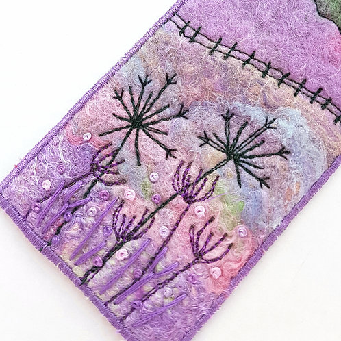Felted wool and embroidered collage bookmark