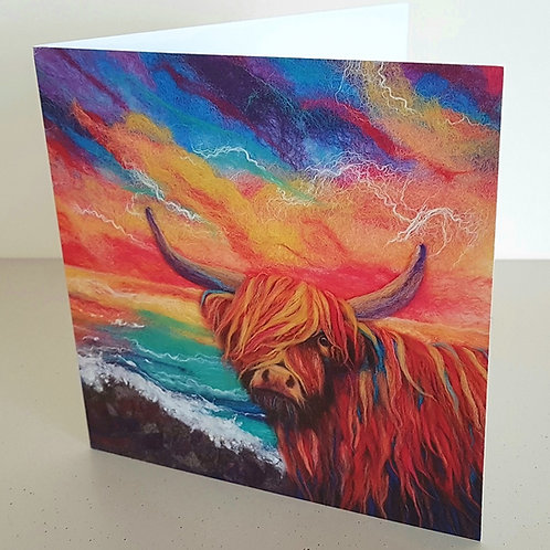 McFelty the Highland Cow greetings card - printed from original felted artwork
