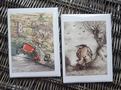 "Wind in the Willows Blank Greeting Cards 5x7"" Pack of 2"