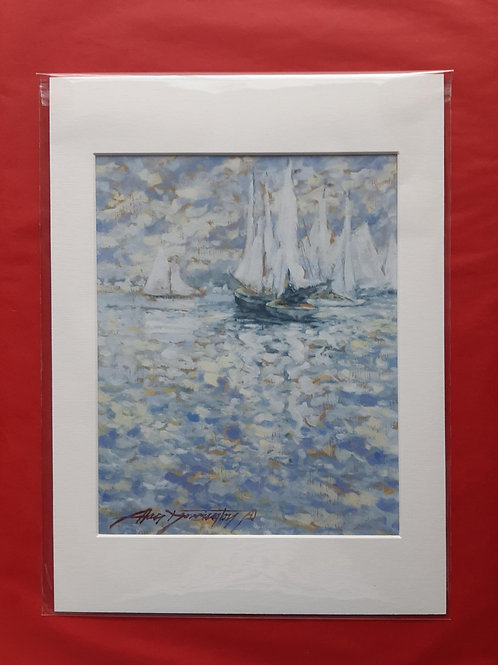 'Flotilla Of Boats' Mounted Fine Art Print