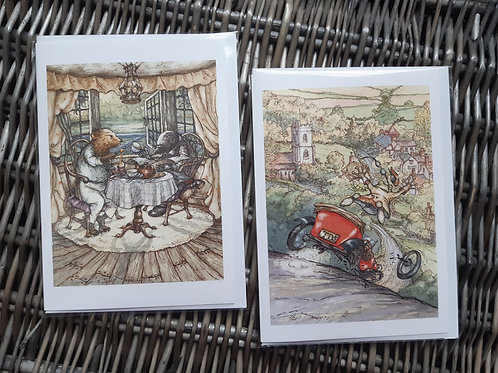"Wind in the Willows Blank Greeting Cards, 5x7"" Pack of 2"