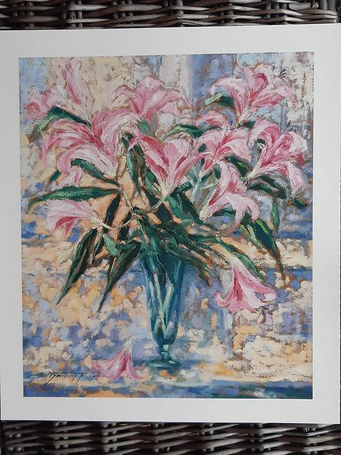 'Pink Lillies' Fine Art Print