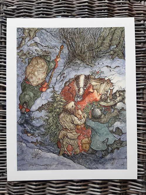 Wind in the Willows 'Mr Badger's Christmas' Fine Art Print