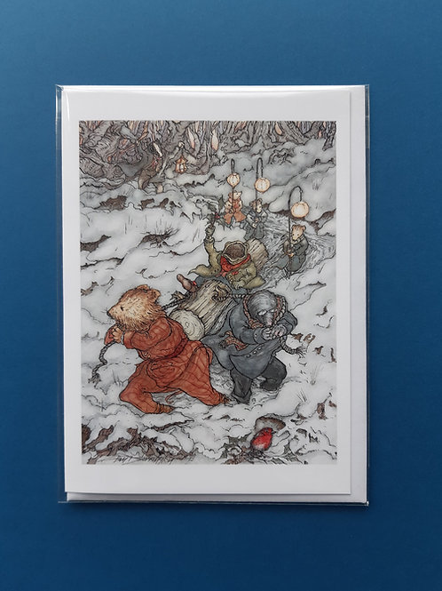 Wind in the Willows 'The Yule Log' Christmas Card