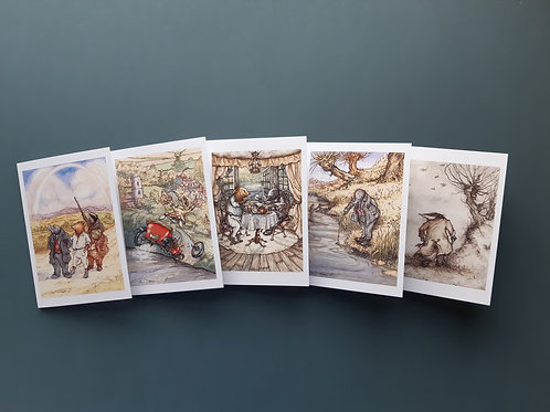 Wind in the Willows Blank Greeting Cards Pack of 5, 1 Of Each Designs