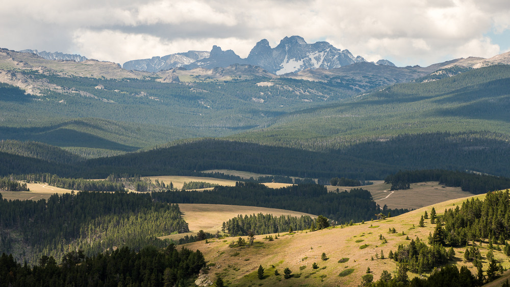 A view of the Bighorn National Forest and the high peaks of the Cloud Peak Wilderness.