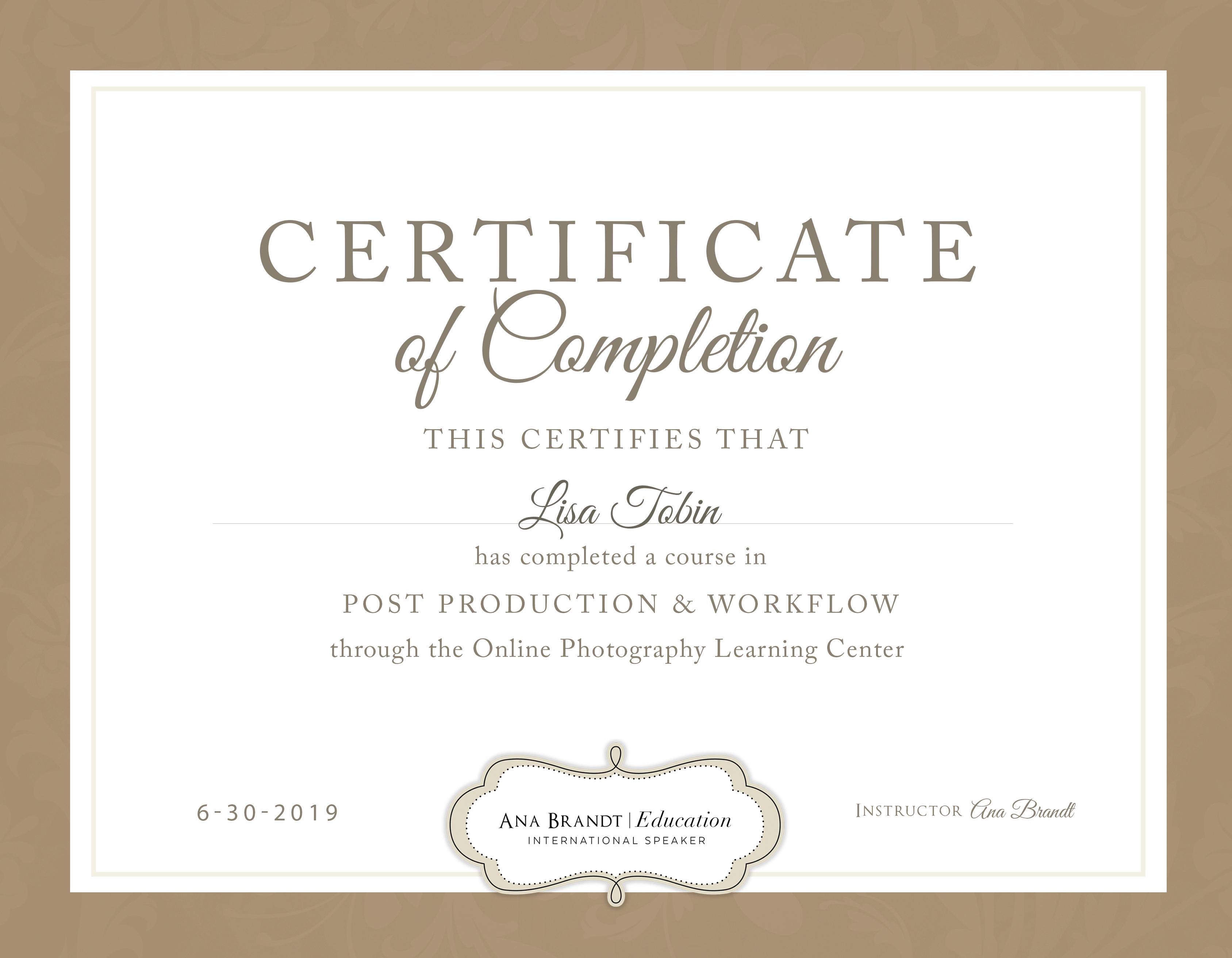 Lisa Tobin PP&W CERT OF COMPLETION