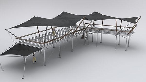 3D render of a tent