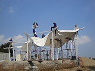 Tensile structure installation