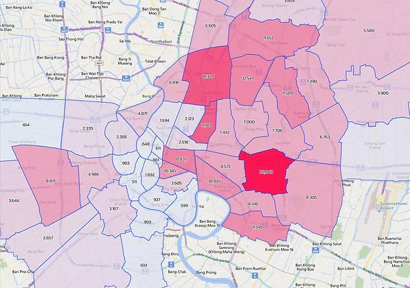New vehicle registrations in Bangkok Metropolitan area at sub-district level