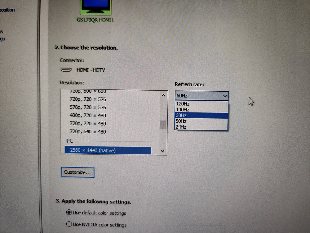 Windows 10 refresh rate setting