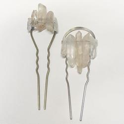 Crystal quartz hairpins