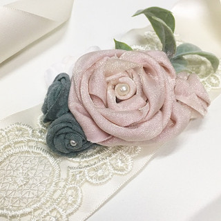Perfect for prom; a corsage with meaning. Handsewn from a Grandmother's pink and green cotton t-shirts.