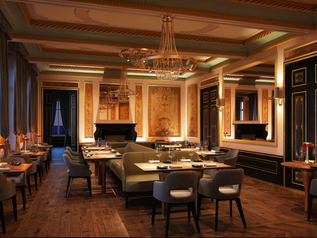 Modern upscale restaurant in historical setting