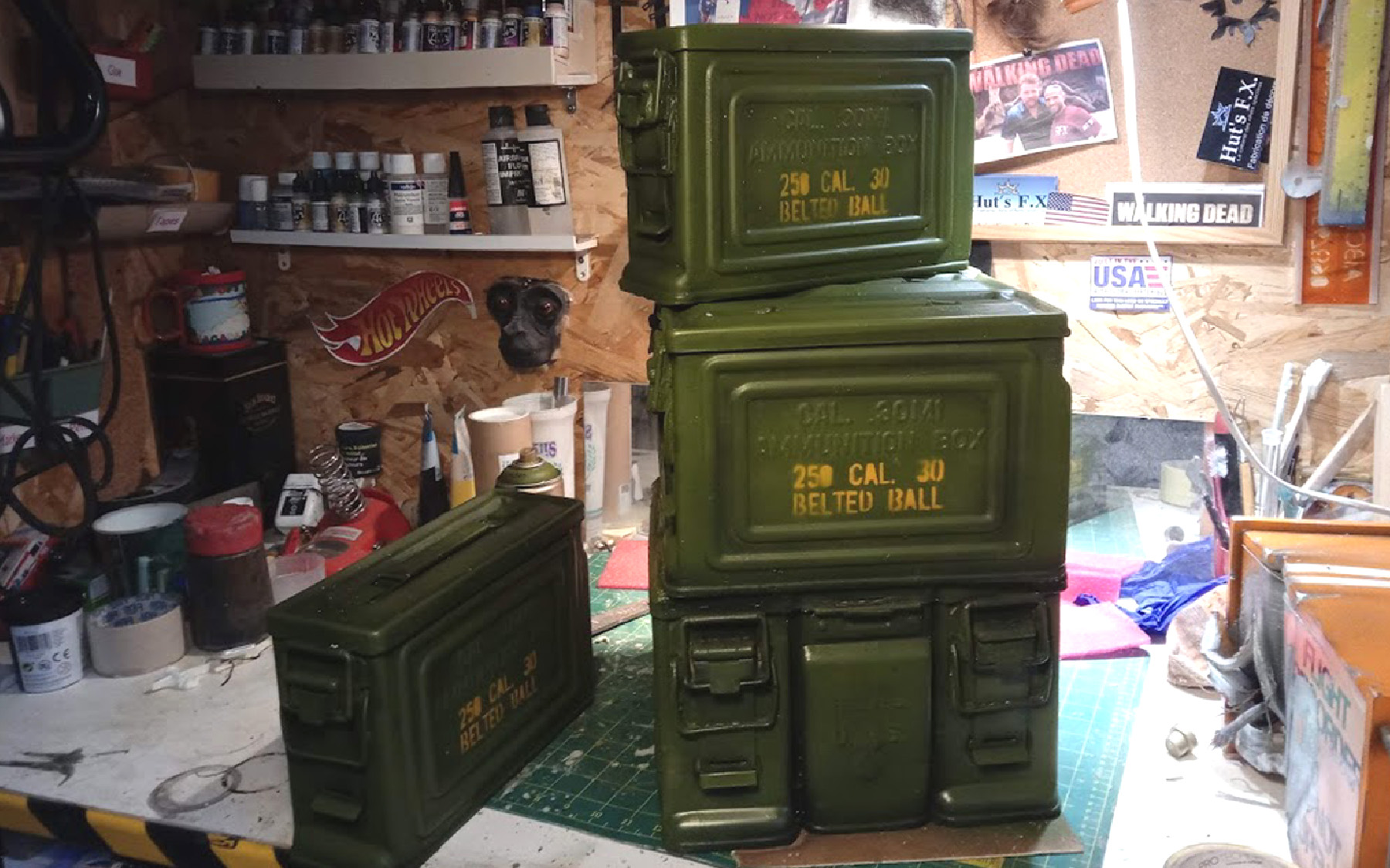 fake ammo box display