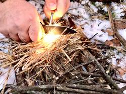 Starting fire with firestarter