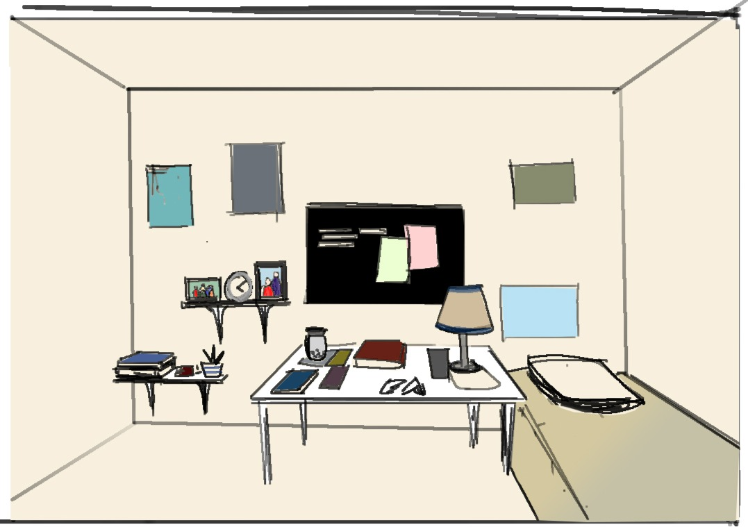 Concept Sketch for Bruce's room