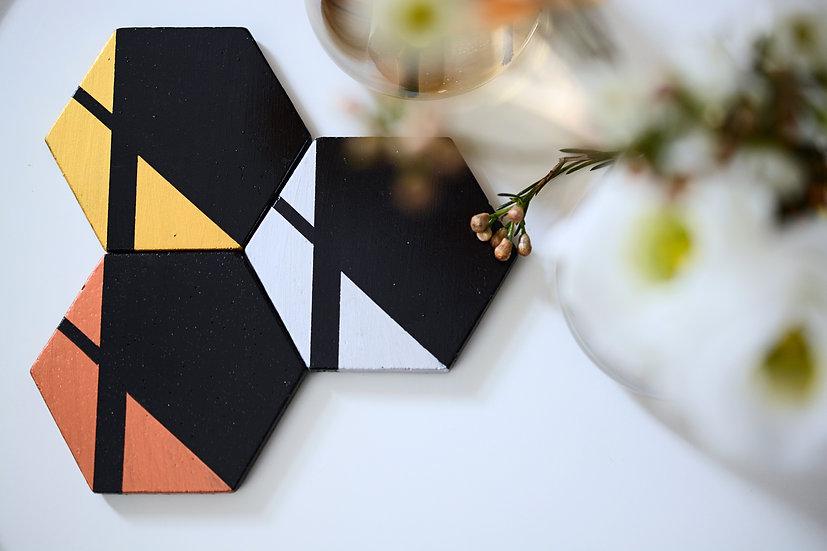 Black Hexagon Coasters