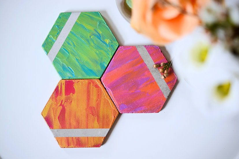 Colourful Hexagon Coasters
