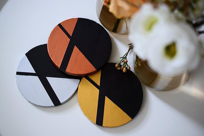 Black Round Coasters