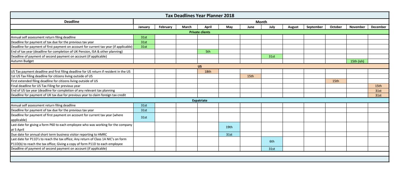 Tax Deadline Planner