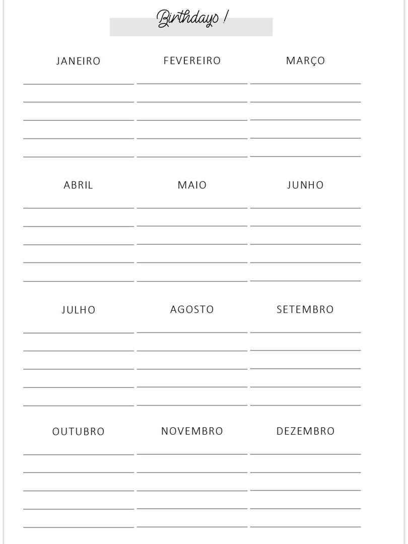 Datas de Aniversários