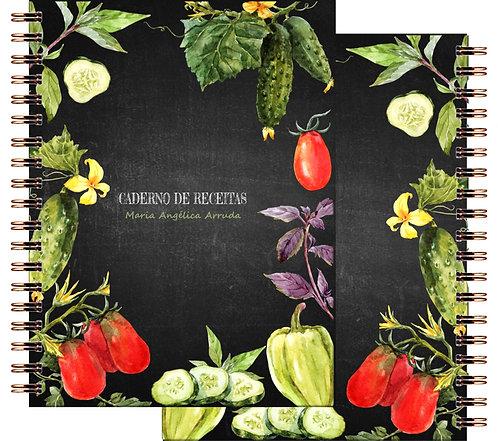 Caderno Receitas Chalkboard Vegetables