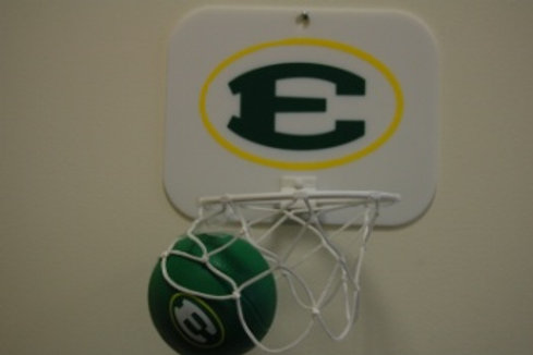 Oval E Basketball backboard and ball