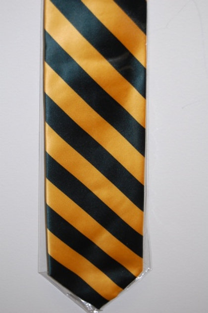 Tie Green/Gold Striped with Tie Tack
