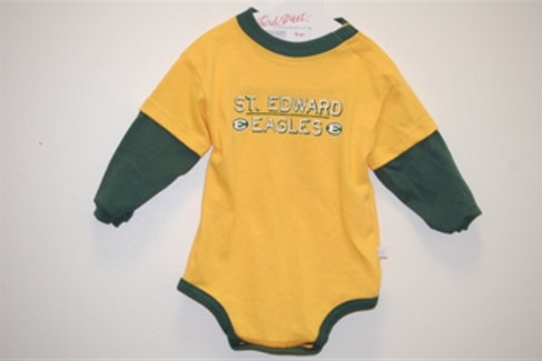 Layered Long Sleeve Diaper Romper Green/Gold