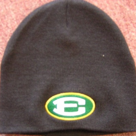 Black Knit Skull Cap with Oval E Logo