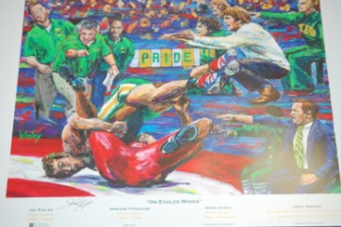 Print On Eagles Wings Wrestling by Kinley