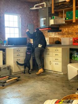 K9 Layla and Handler Wyatt searching a garage.