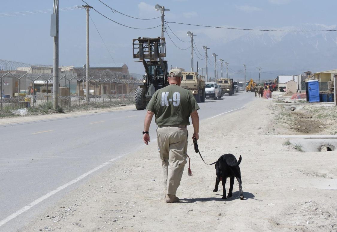 Chris & K9 Federal in Afghanistan.