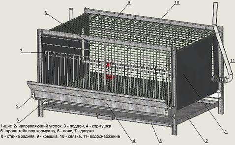 блок (клетка)для кур-бролеров