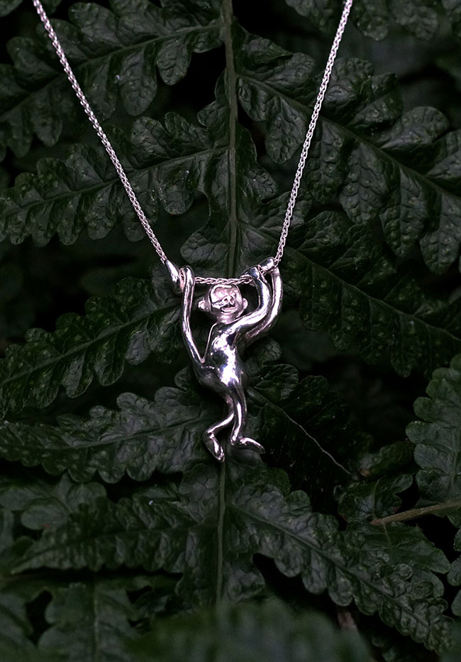 Silver Climbing Monkey Necklace