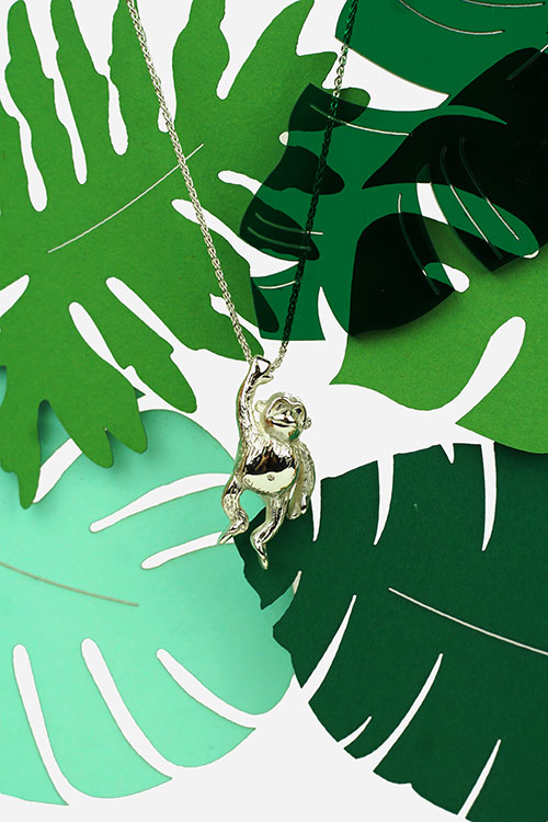 Silver Chimp Necklace
