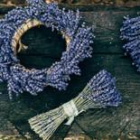 Top view of big handmade lavender wreath