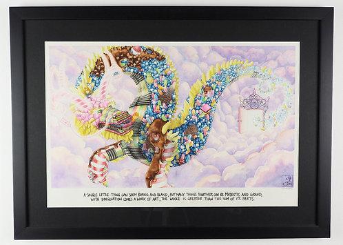 Candy Dragon A2 Watercolour Illustration