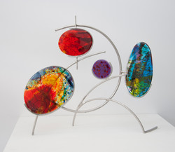 celestial spheres Fused glass & stainless steel 49x58x18