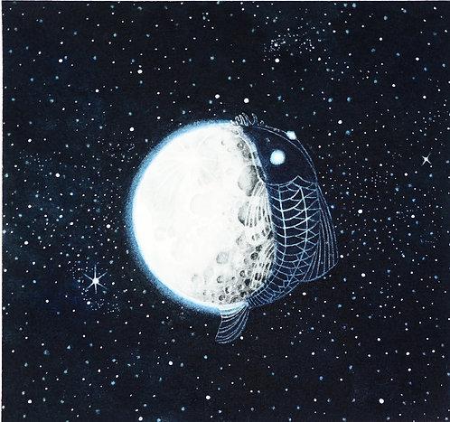 The Moon & Harold Watercolour Illustration